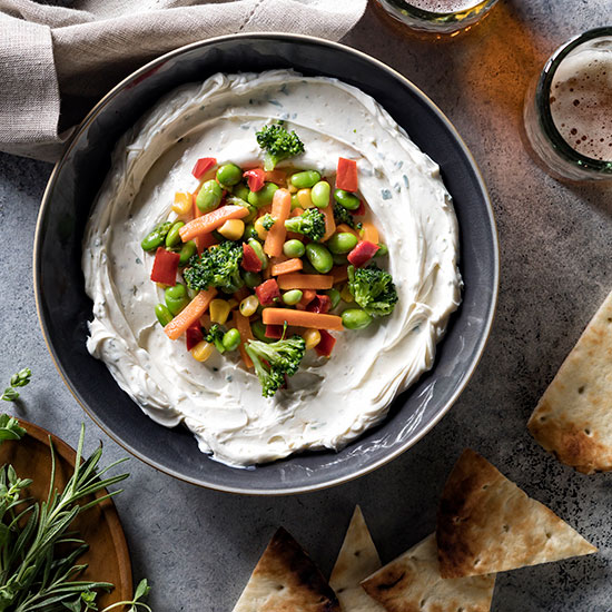 Drunken Goat cheese veg dip