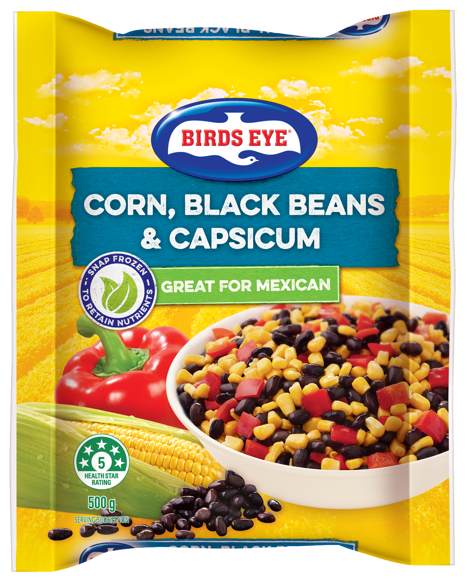 Corn, black beans and capsicum 500g