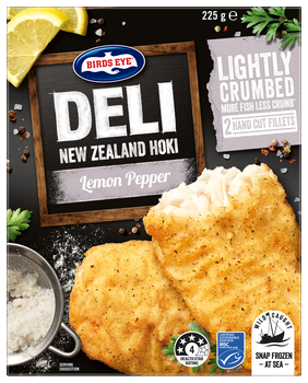 Birds Eye Deli New Zealnd Hoki Lightly Crumbed Lemond Pepper fish fillets frozen