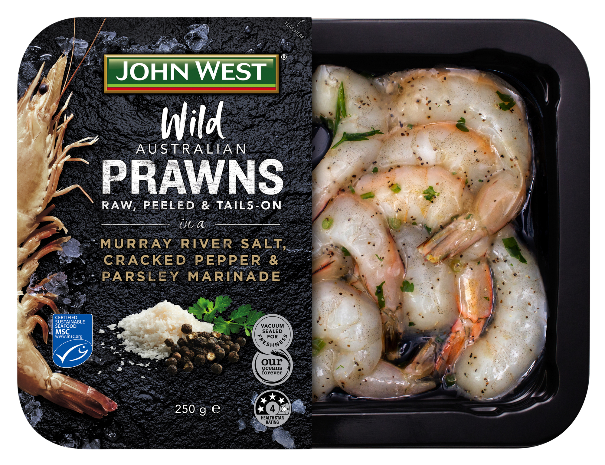 Wild Australian Prawns Salt Cracked Pepper Parsley Marinade